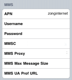 Zong Internet APN settings for iPhone