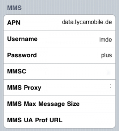 LycaMobile Internet APN settings for iPhone