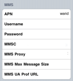 Warid Internet APN settings for iPhone