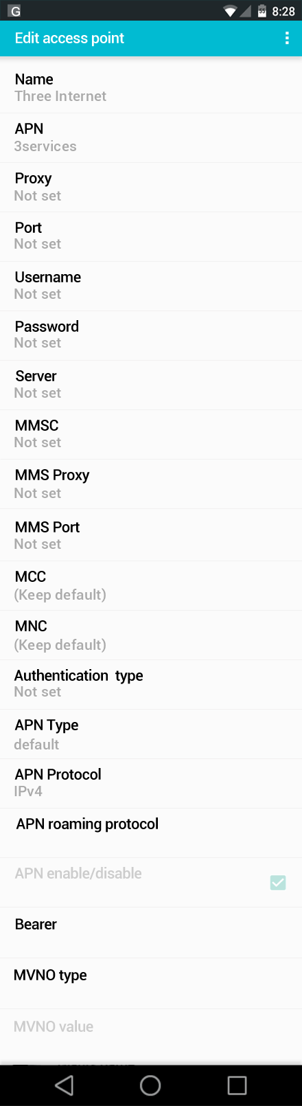 Three Internet APN settings for Android screenshot
