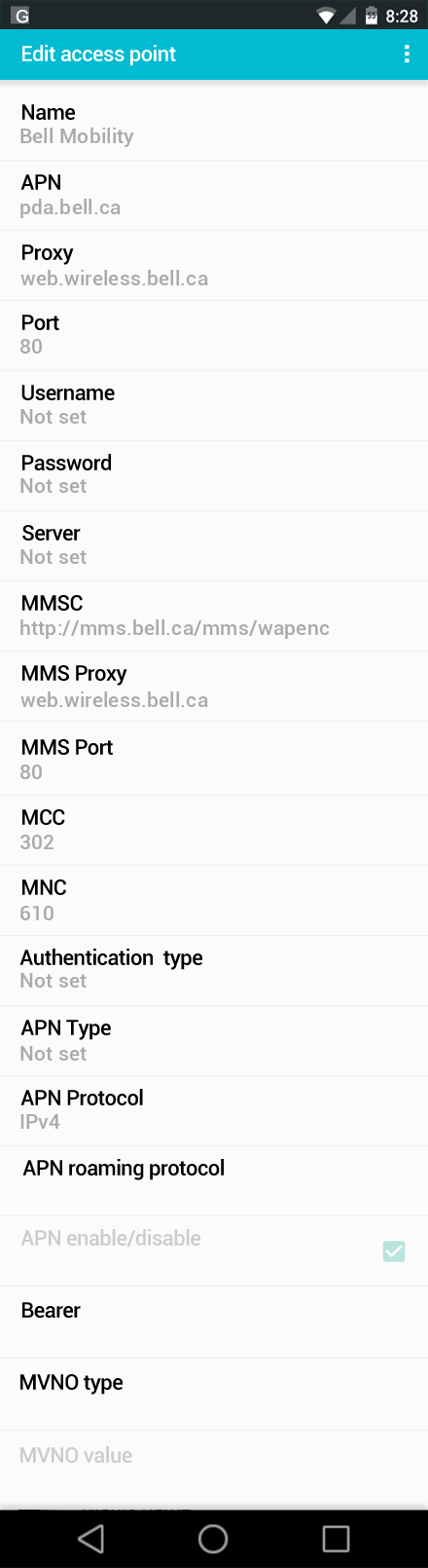 Bell Mobility  APN settings for Android screenshot