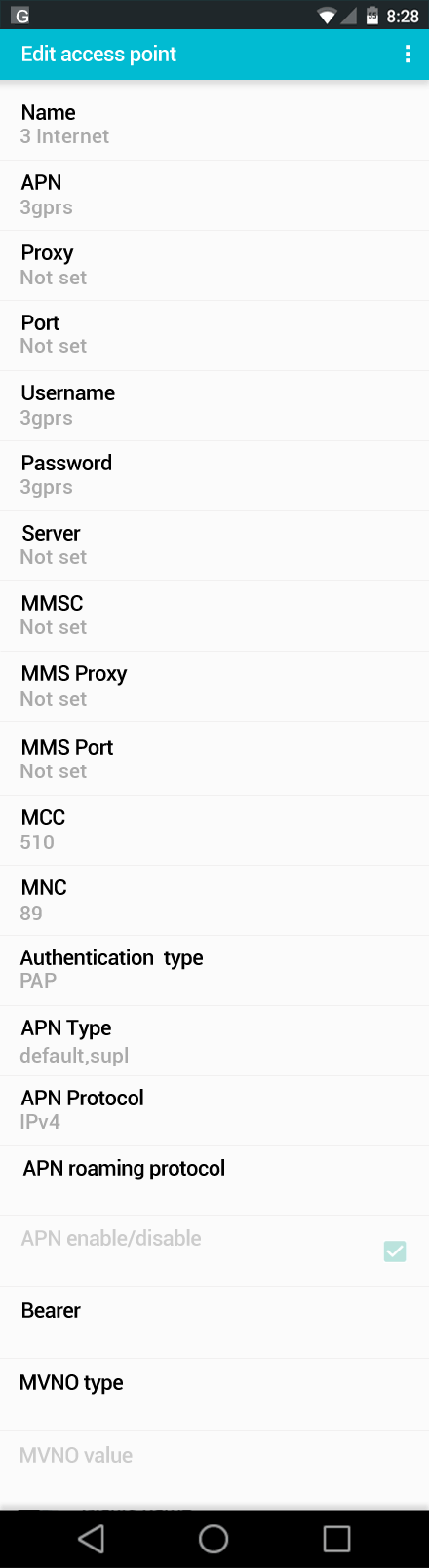 3 Internet APN settings for Android screenshot