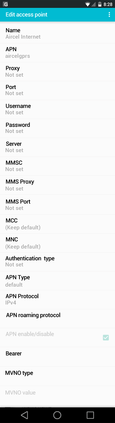 Aircel Internet APN settings for Android screenshot