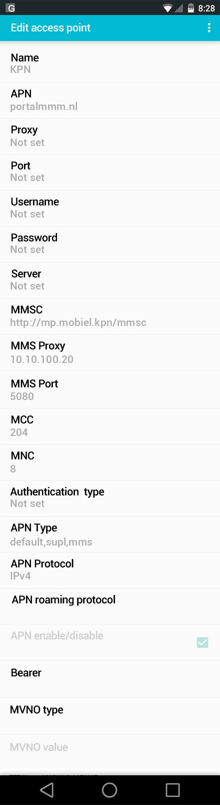 KPN  APN settings for Android screenshot