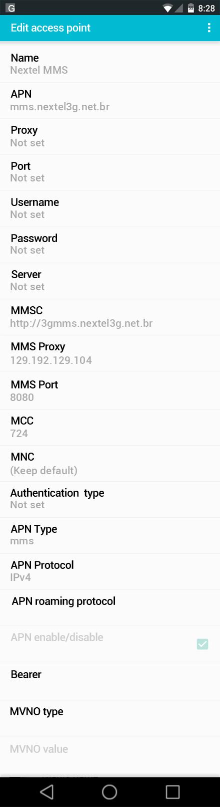Nextel MMS APN settings for Android screenshot