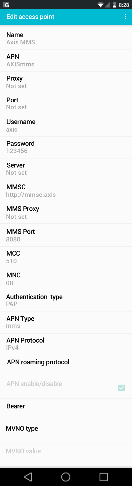 Axis MMS APN settings for Android screenshot