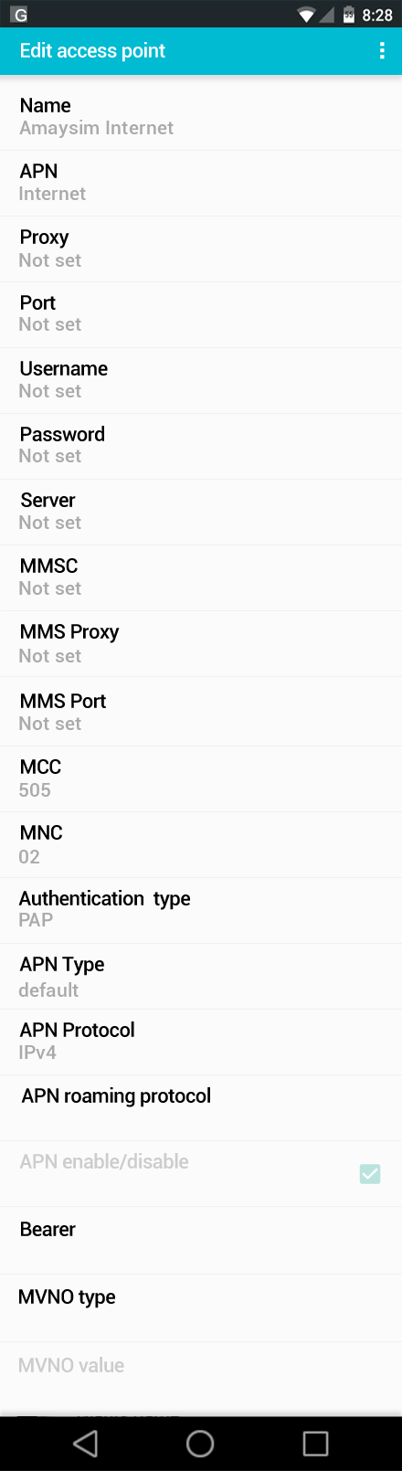 Amaysim Internet APN settings for Android screenshot