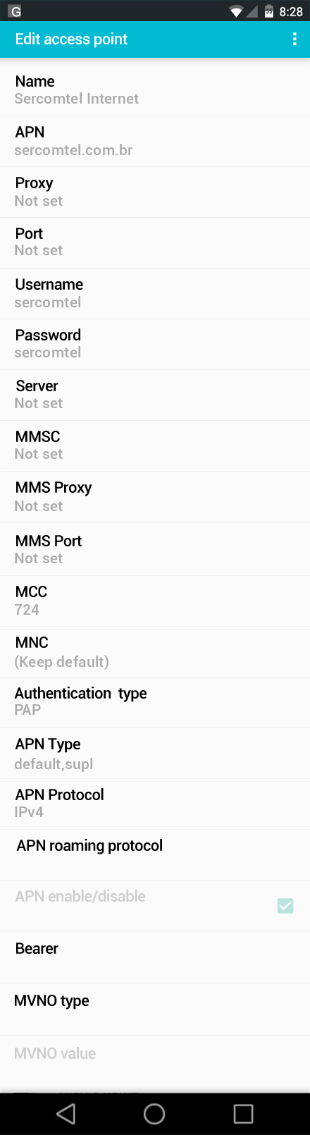 Sercomtel Internet APN settings for Android screenshot