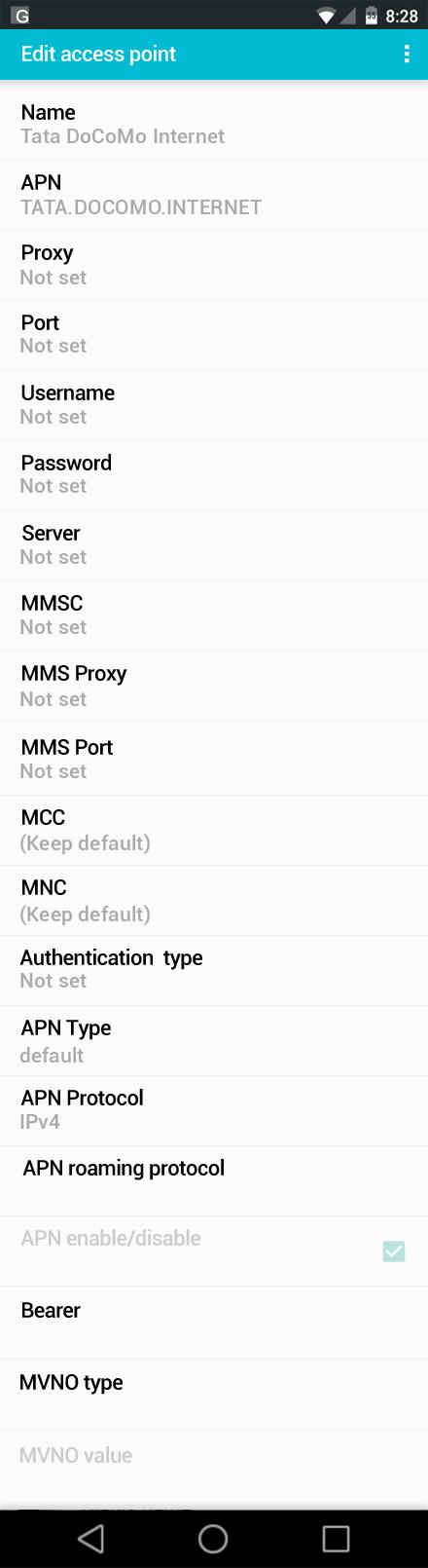 Tata DoCoMo Internet APN settings for Android screenshot