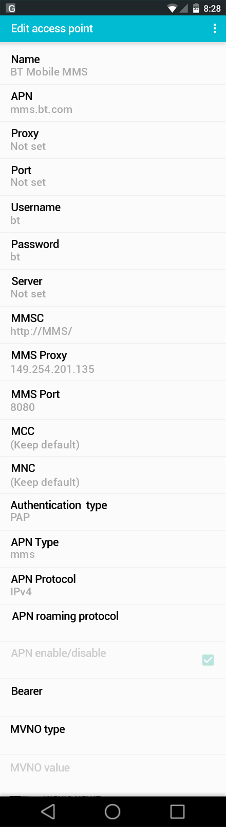 BT Mobile MMS APN settings for Android screenshot