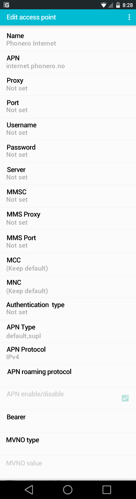 Phonero Internet APN settings for Android screenshot