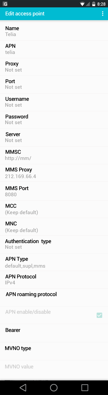 Telia  APN settings for Android screenshot