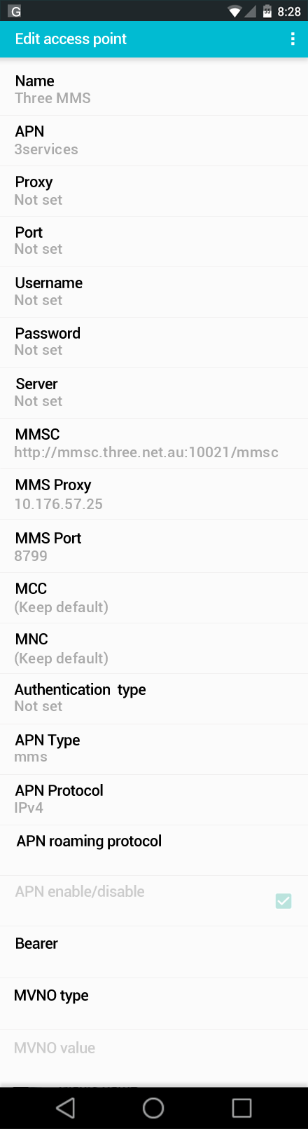 Three MMS APN settings for Android screenshot
