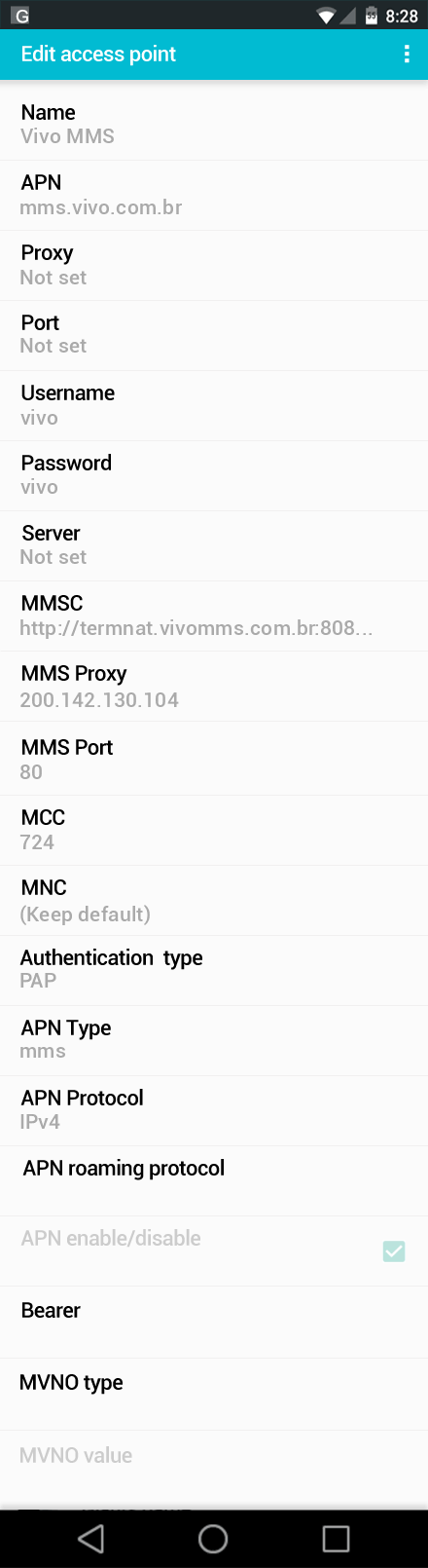 Vivo MMS APN settings for Android screenshot
