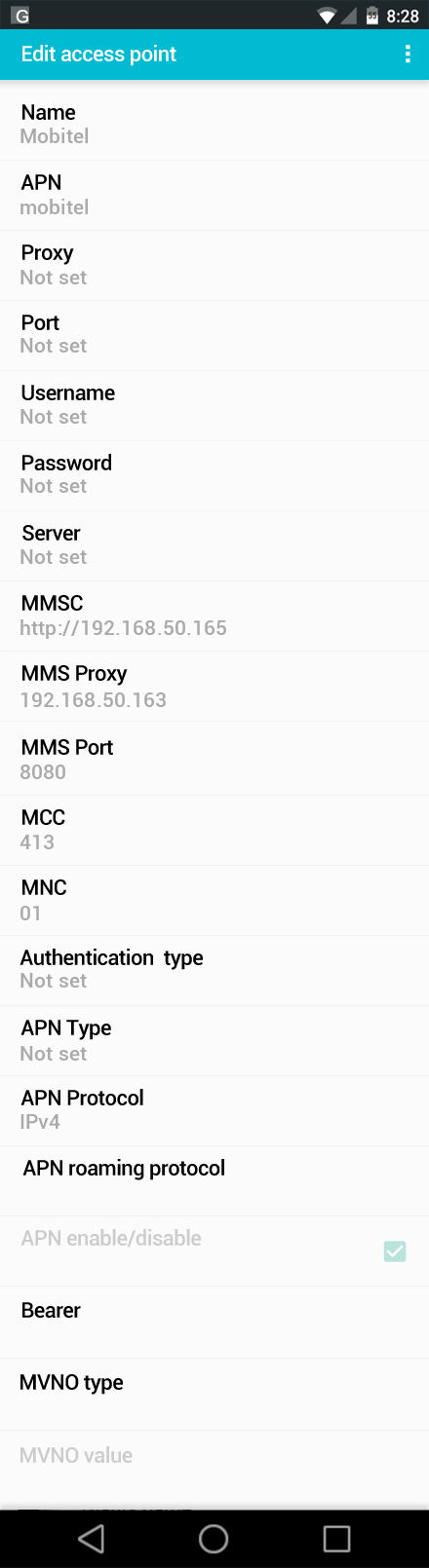 Mobitel  APN settings for Android screenshot