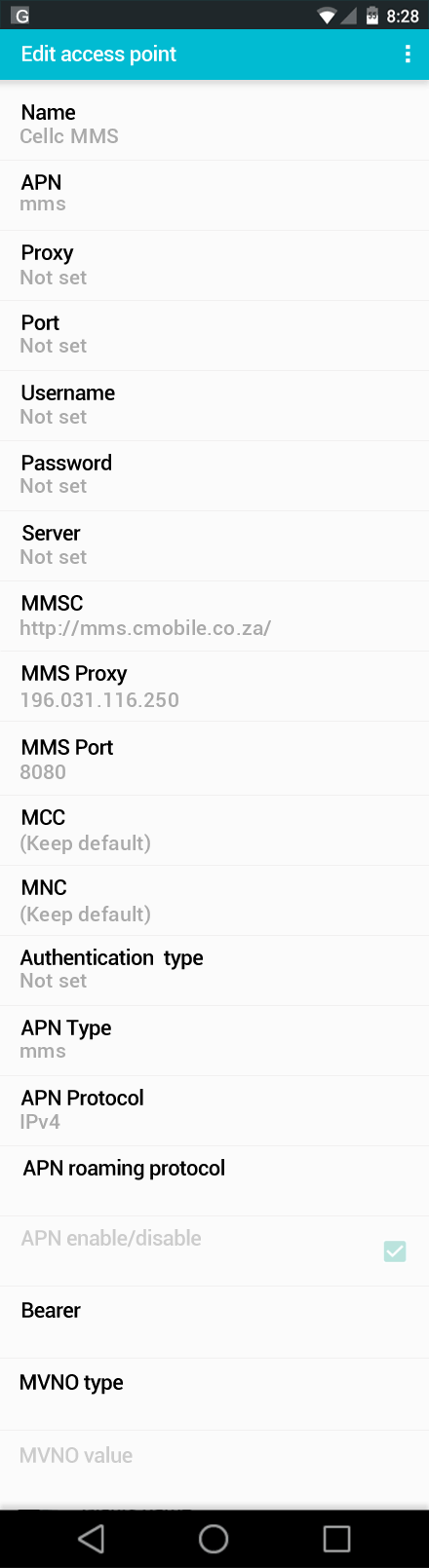 Cellc MMS APN settings for Android screenshot