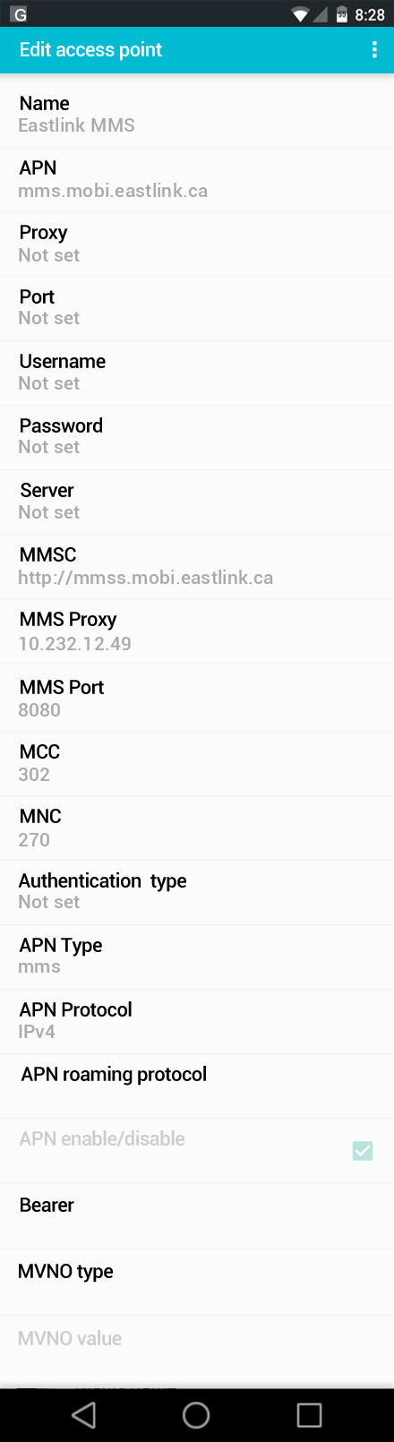 Eastlink MMS APN settings for Android screenshot