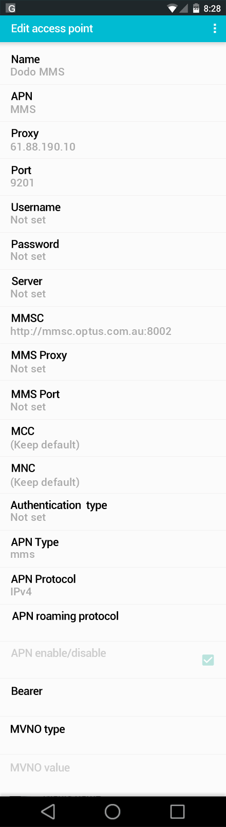 Dodo MMS APN settings for Android screenshot
