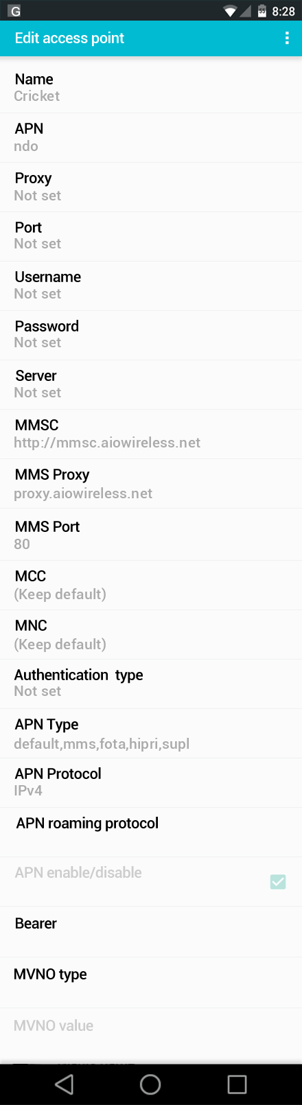 Cricket  APN settings for Android screenshot