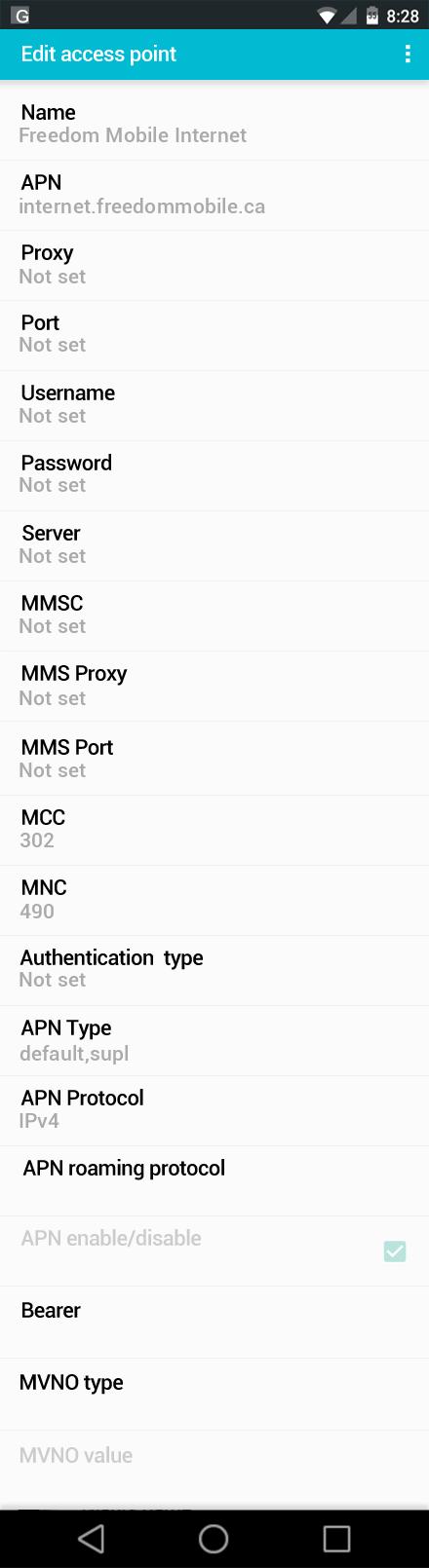 Freedom Mobile Internet APN settings for Android screenshot