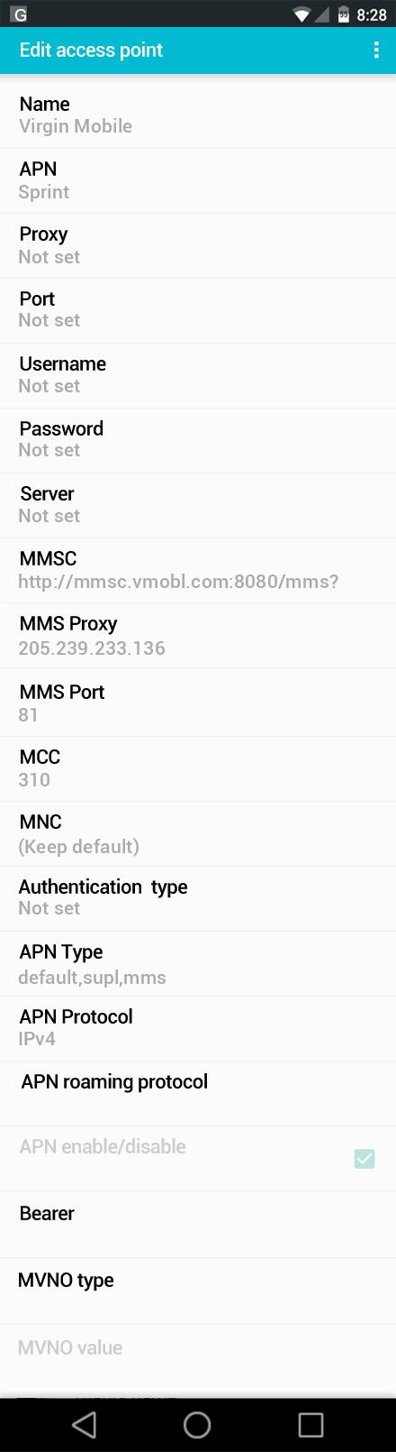 Virgin Mobile  APN settings for Android screenshot
