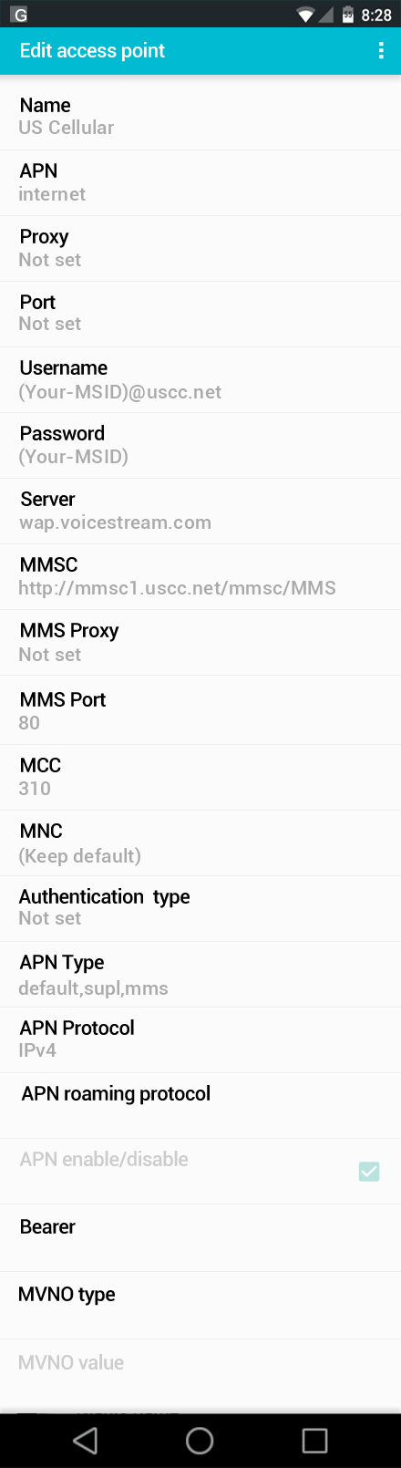 US Cellular  APN settings for Android screenshot