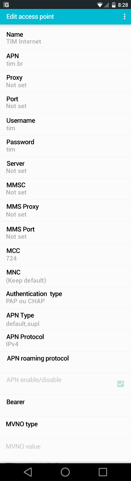 TIM Internet APN settings for Android screenshot