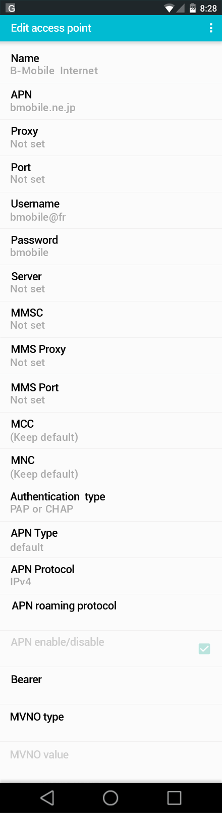 B-Mobile  Internet APN settings for Android