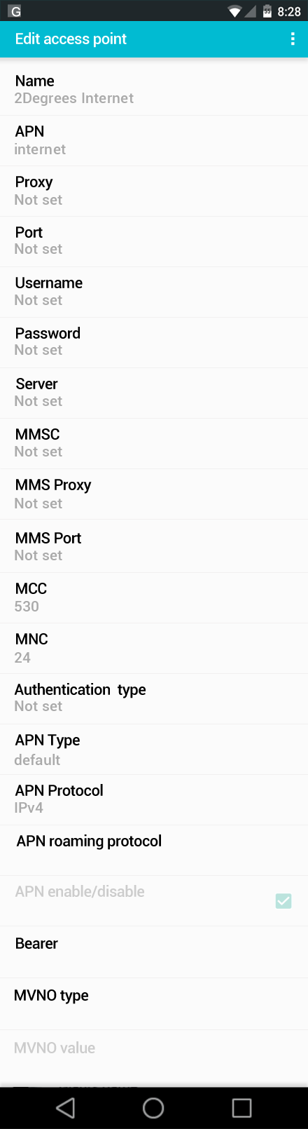 2Degrees Internet APN settings for Android screenshot