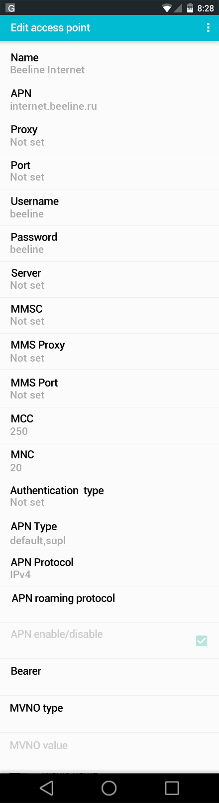 Beeline Internet APN settings for Android screenshot