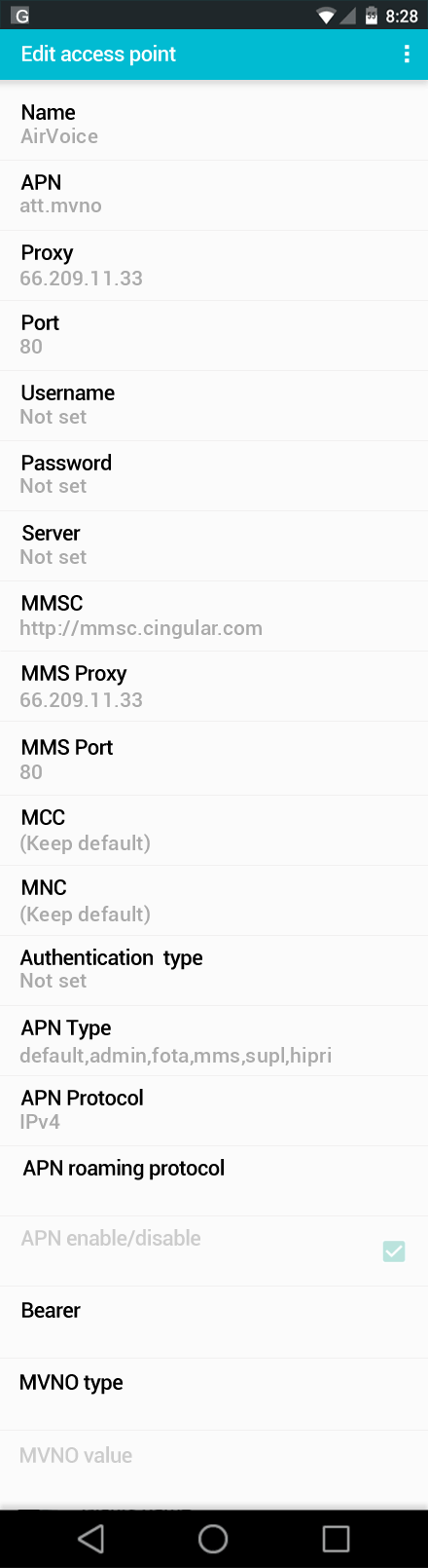 AirVoice  APN settings for Android screenshot
