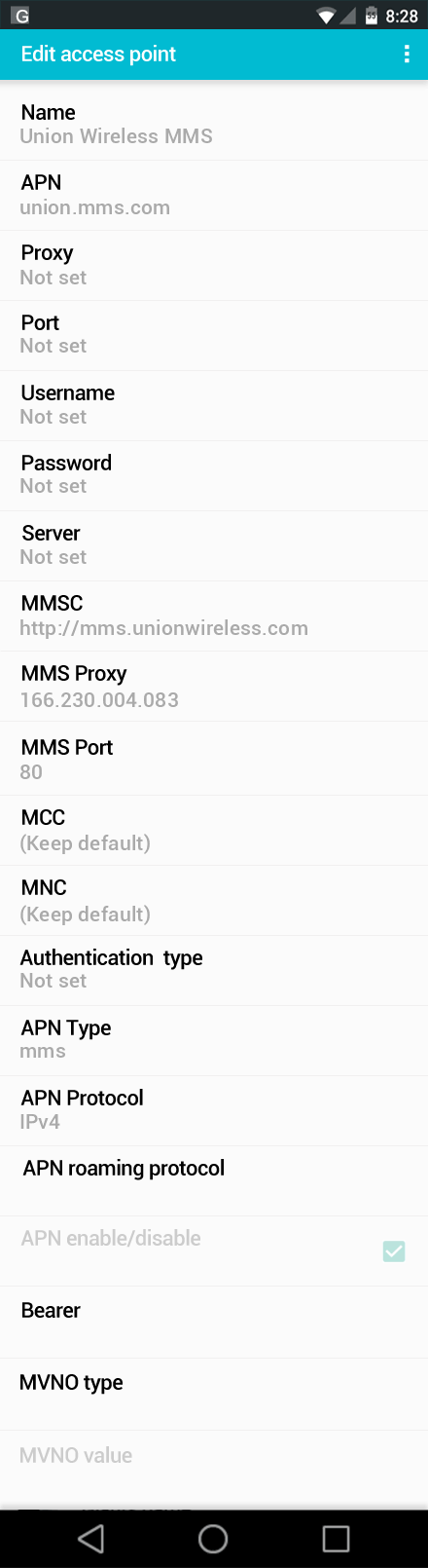 Union Wireless MMS APN settings for Android screenshot
