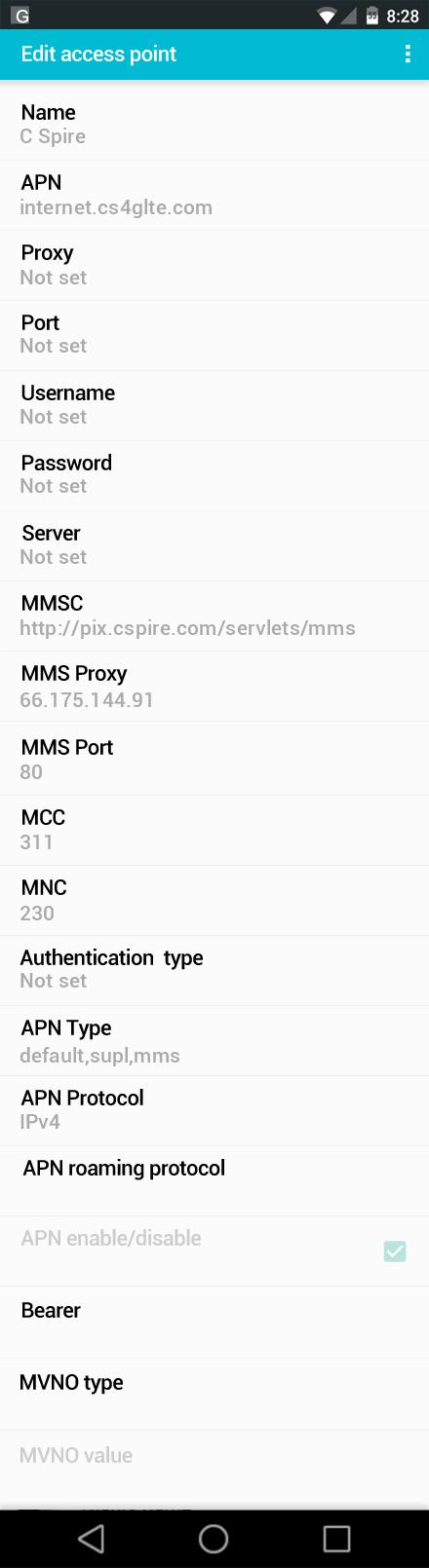C Spire  APN settings for Android screenshot
