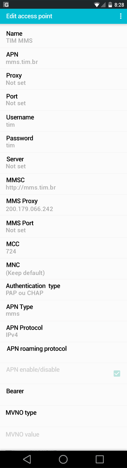 TIM MMS APN settings for Android screenshot