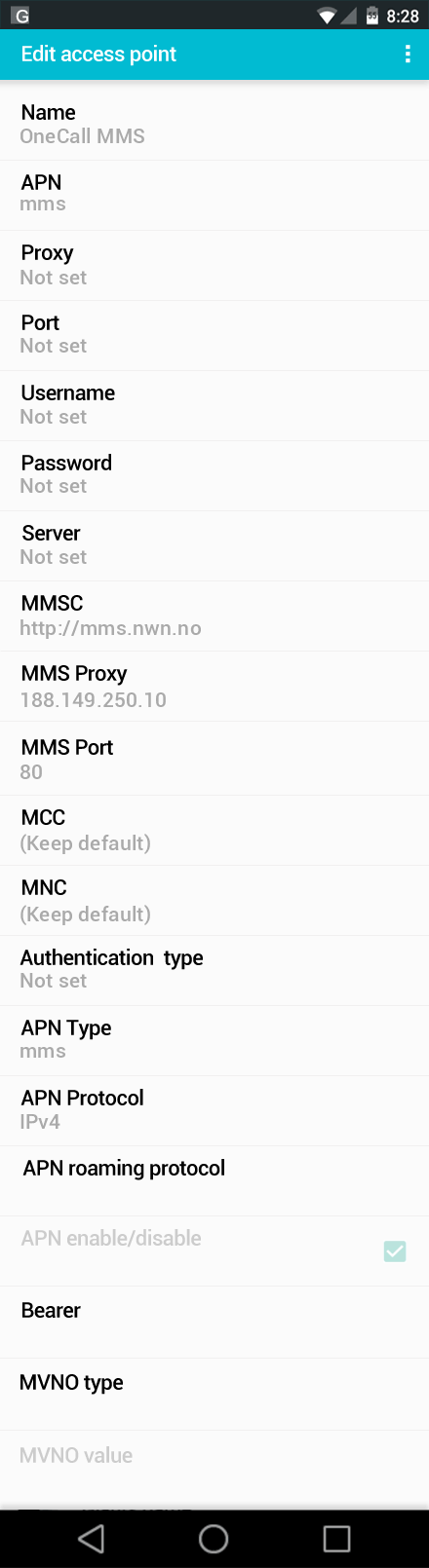 OneCall MMS APN settings for Android screenshot