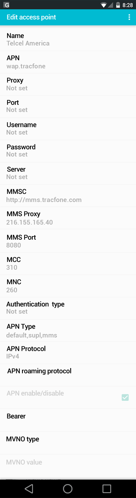 Telcel America  APN settings for Android screenshot