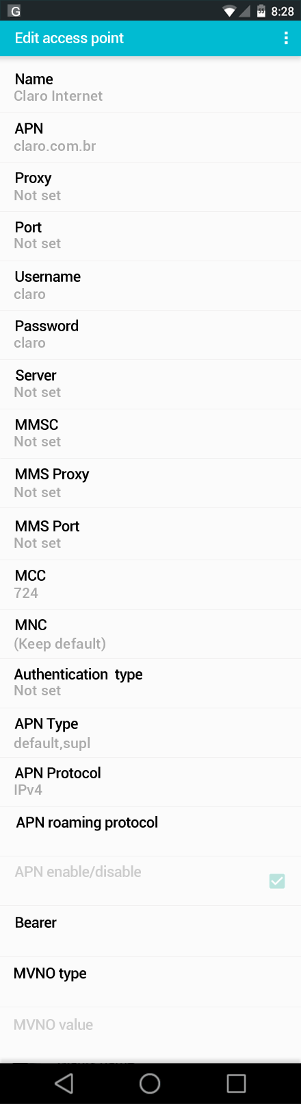 Claro Internet APN settings for Android screenshot