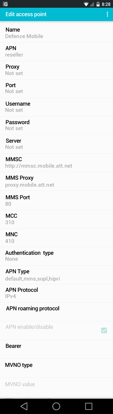 Defence Mobile  APN settings for Android screenshot