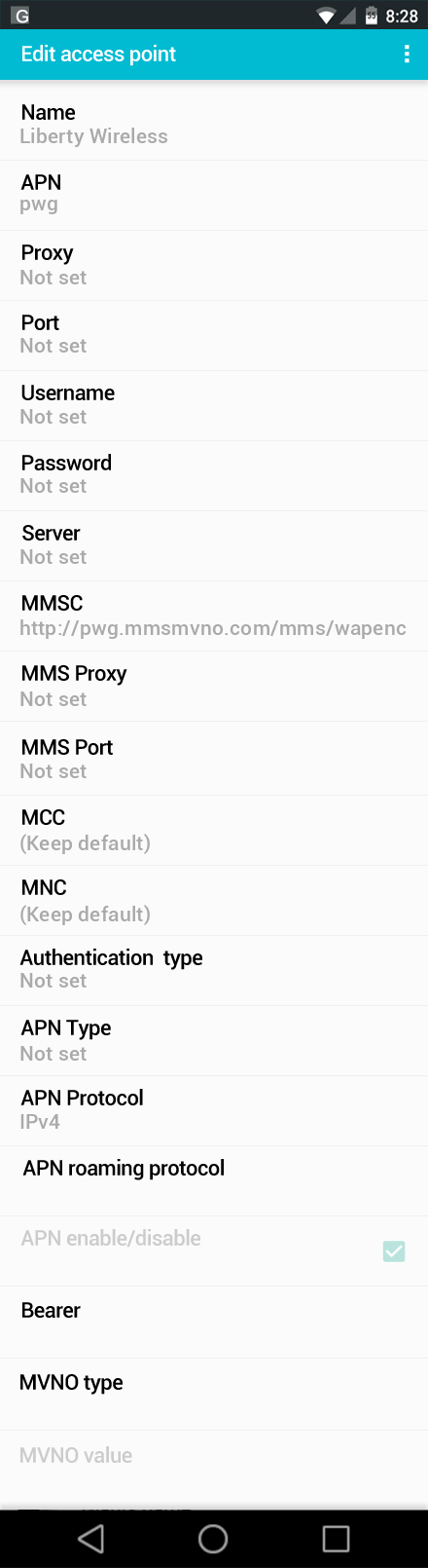 Liberty Wireless  APN settings for Android screenshot