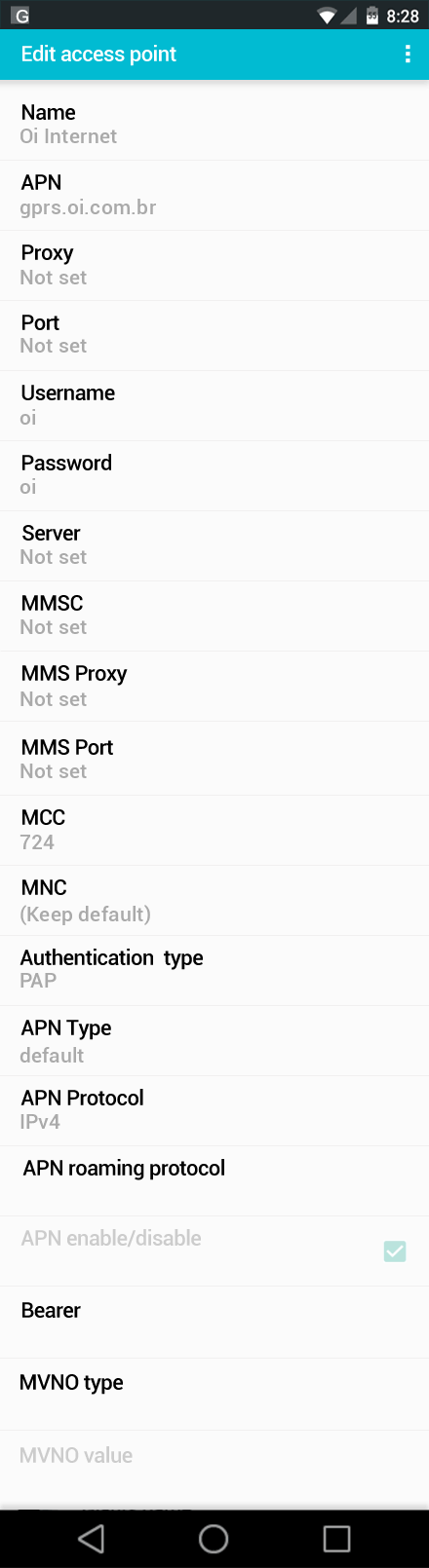 Oi Internet APN settings for Android screenshot
