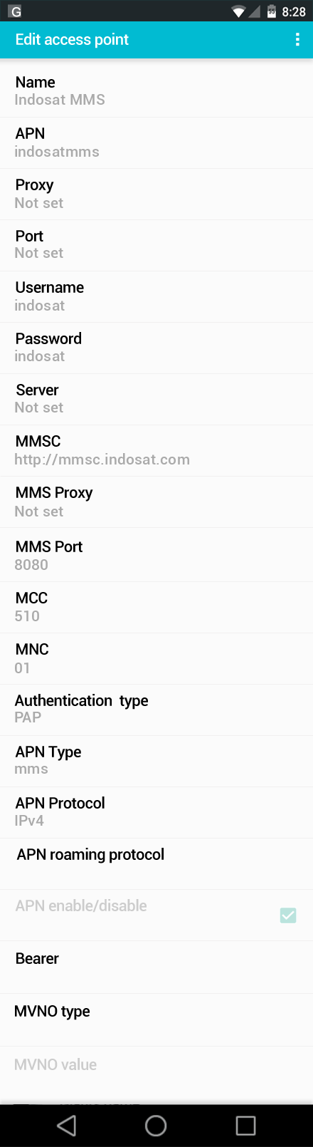 Indosat MMS APN settings for Android screenshot