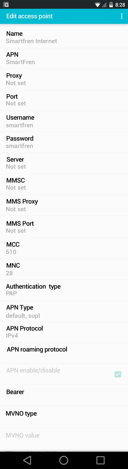 Smartfren Internet APN settings for Android screenshot