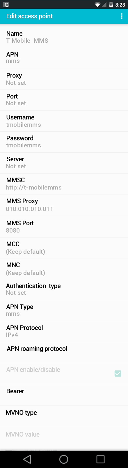 T-Mobile  MMS APN settings for Android screenshot