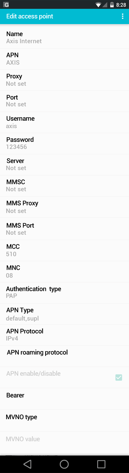 Axis Internet APN settings for Android screenshot