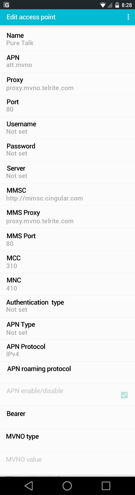 Pure Talk  APN settings for Android screenshot