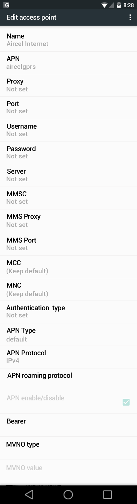 Aircel Internet APN settings for Android Nougat screenshot