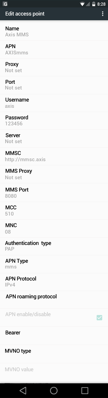 Axis MMS APN settings for Android Marshmallow screenshot