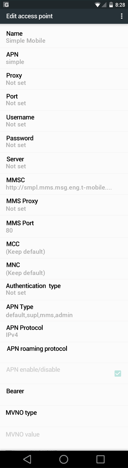 Simple Mobile  APN settings for Android Marshmallow screenshot