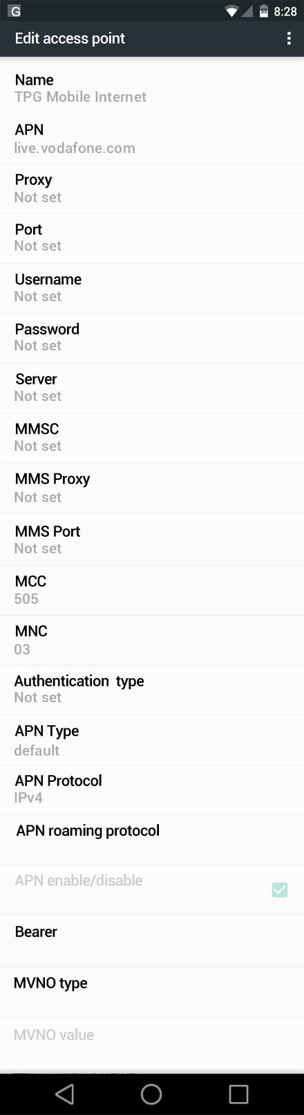 TPG Mobile Internet APN settings for Android Marshmallow screenshot