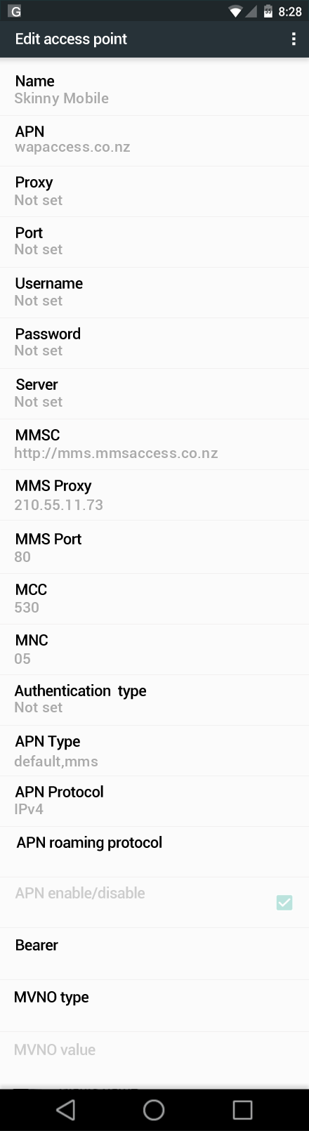 Skinny Mobile  APN settings for Android Marshmallow screenshot